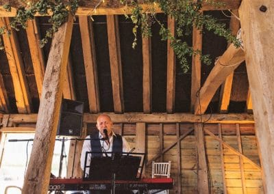 jazz singer performing in a barn